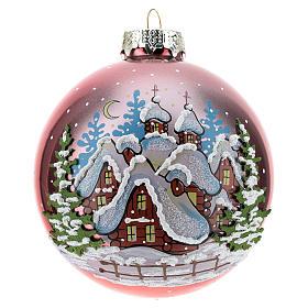 Bola de Navidad roja con paisaje nevado 80 mm s1