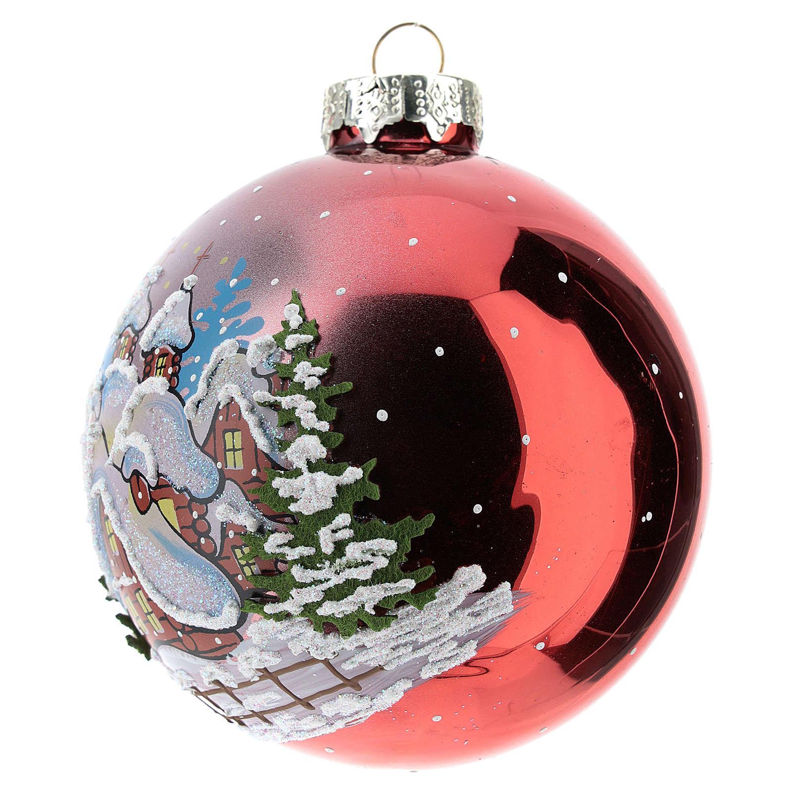Boule de Noël rouge avec paysage enneigé 80 mm 4