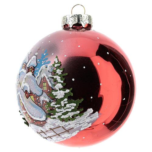 Boule de Noël rouge avec paysage enneigé 80 mm 2