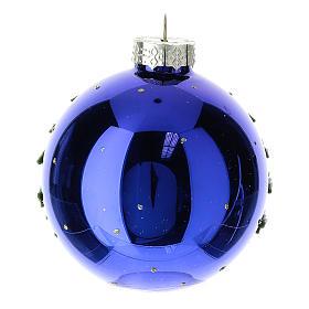 Bola árbol Navidad navideña azul 80 mm s4