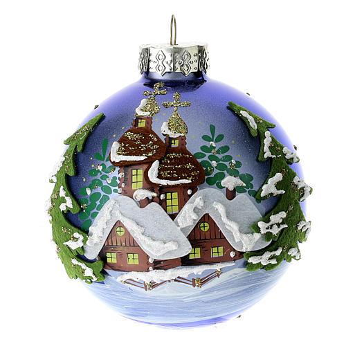 Boule sapin de Noël bleue 80 mm 1