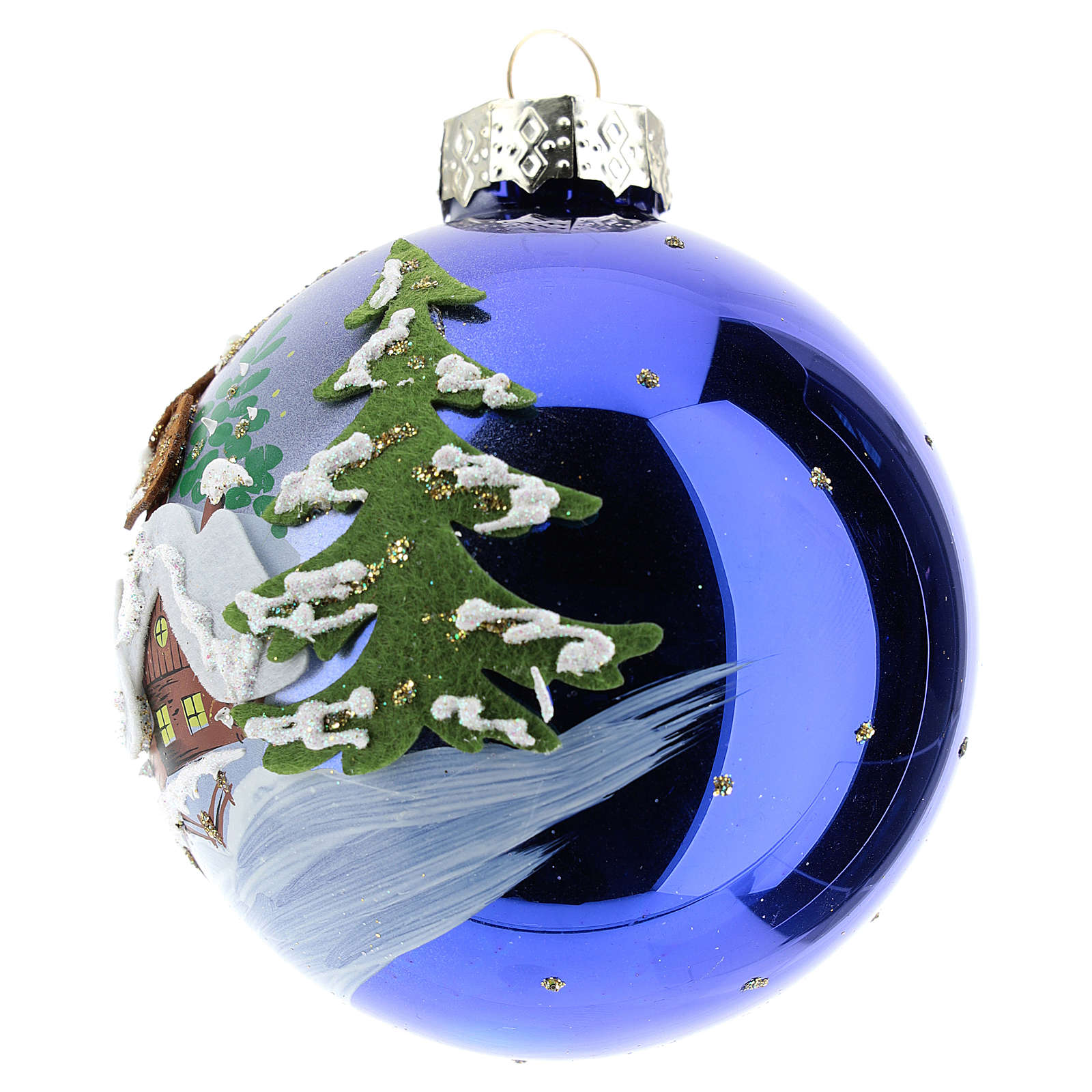 Pallina albero Natale natalizia blu 80 mm  4