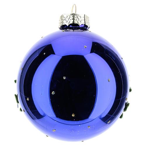Pallina albero Natale natalizia blu 80 mm  3