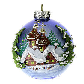 Blue blown glass Christmas ball with winter landscape 8 cm s1