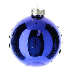 Blue blown glass Christmas ball with winter landscape 8 cm s4