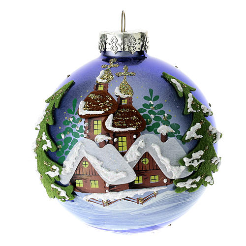 Blue blown glass Christmas ball with winter landscape 8 cm 1