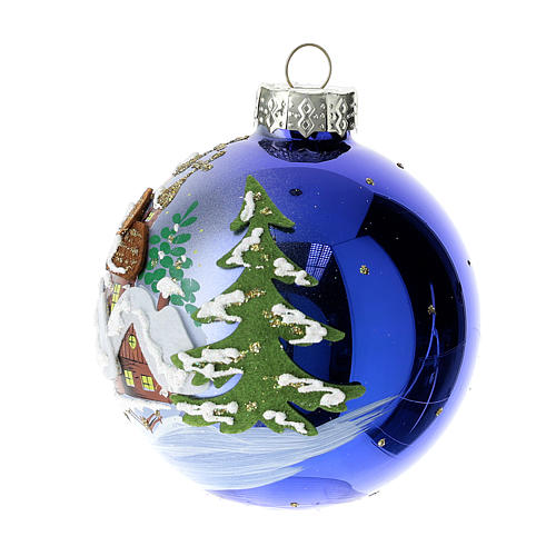 Blue blown glass Christmas ball with winter landscape 8 cm 2