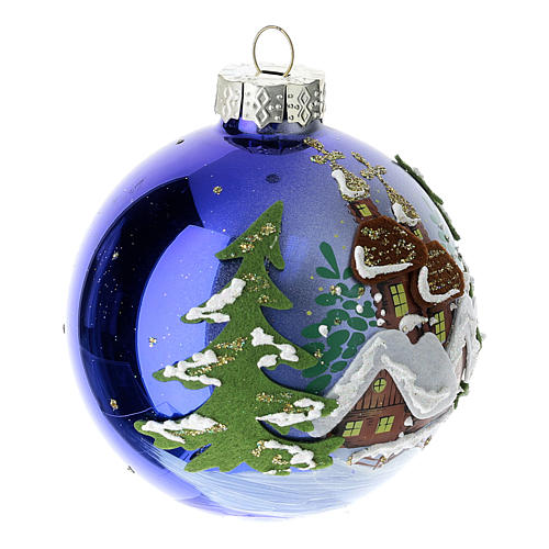 Blue blown glass Christmas ball with winter landscape 8 cm 3