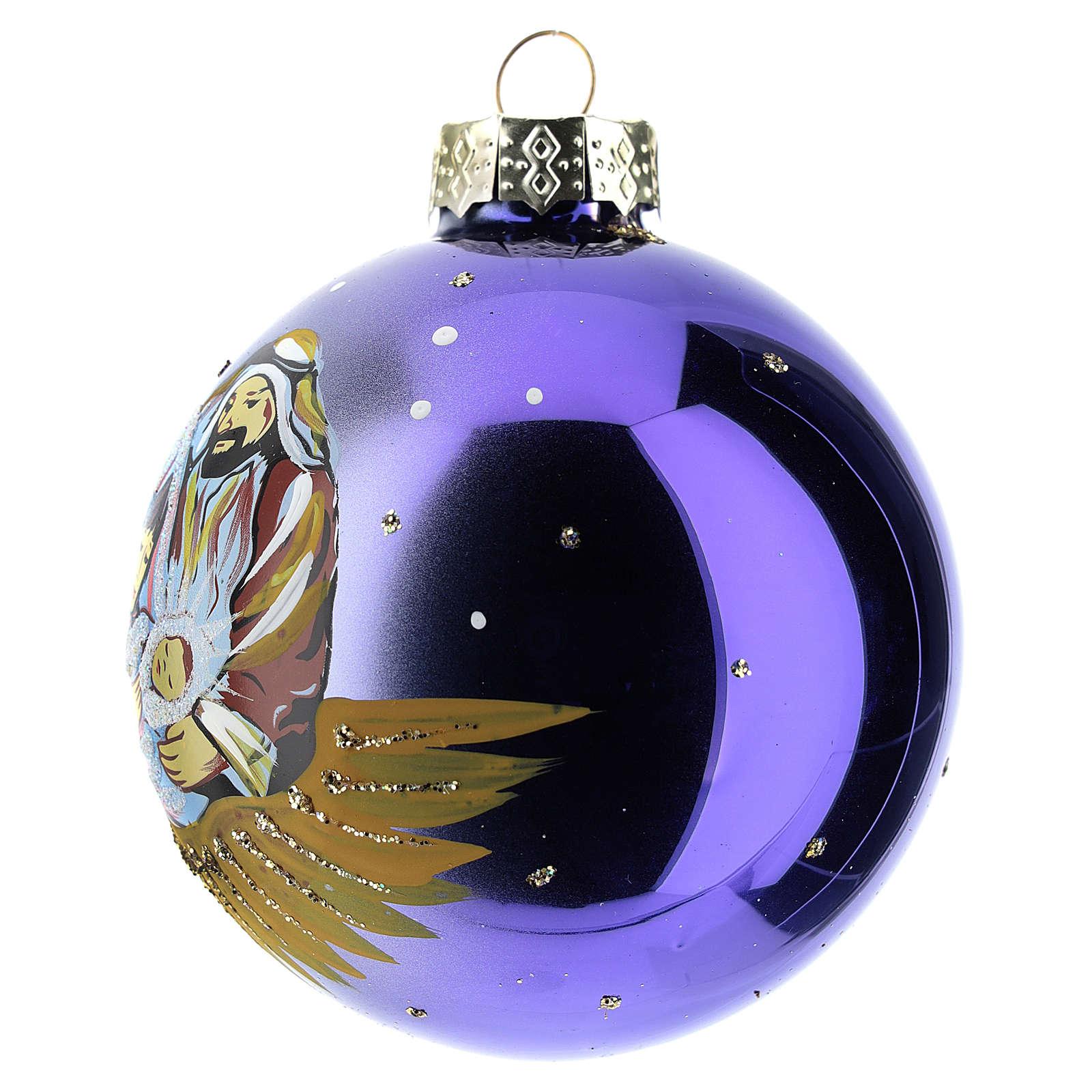 Boule sapin de Noël scène Nativité 80 mm 4