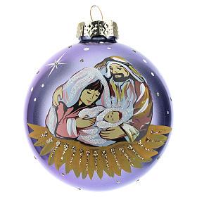 Boule sapin de Noël scène Nativité 80 mm s1