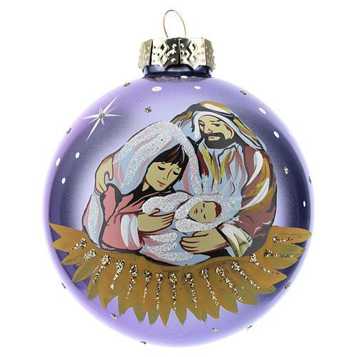 Boule sapin de Noël scène Nativité 80 mm 1