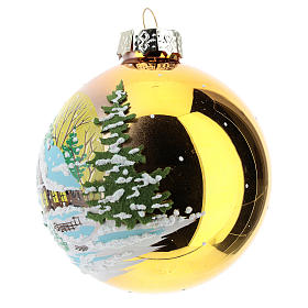 Gold ball with winter landscape 8 cm s2