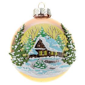 Boules de Noël: Boule or avec paysage hivernal 80 mm