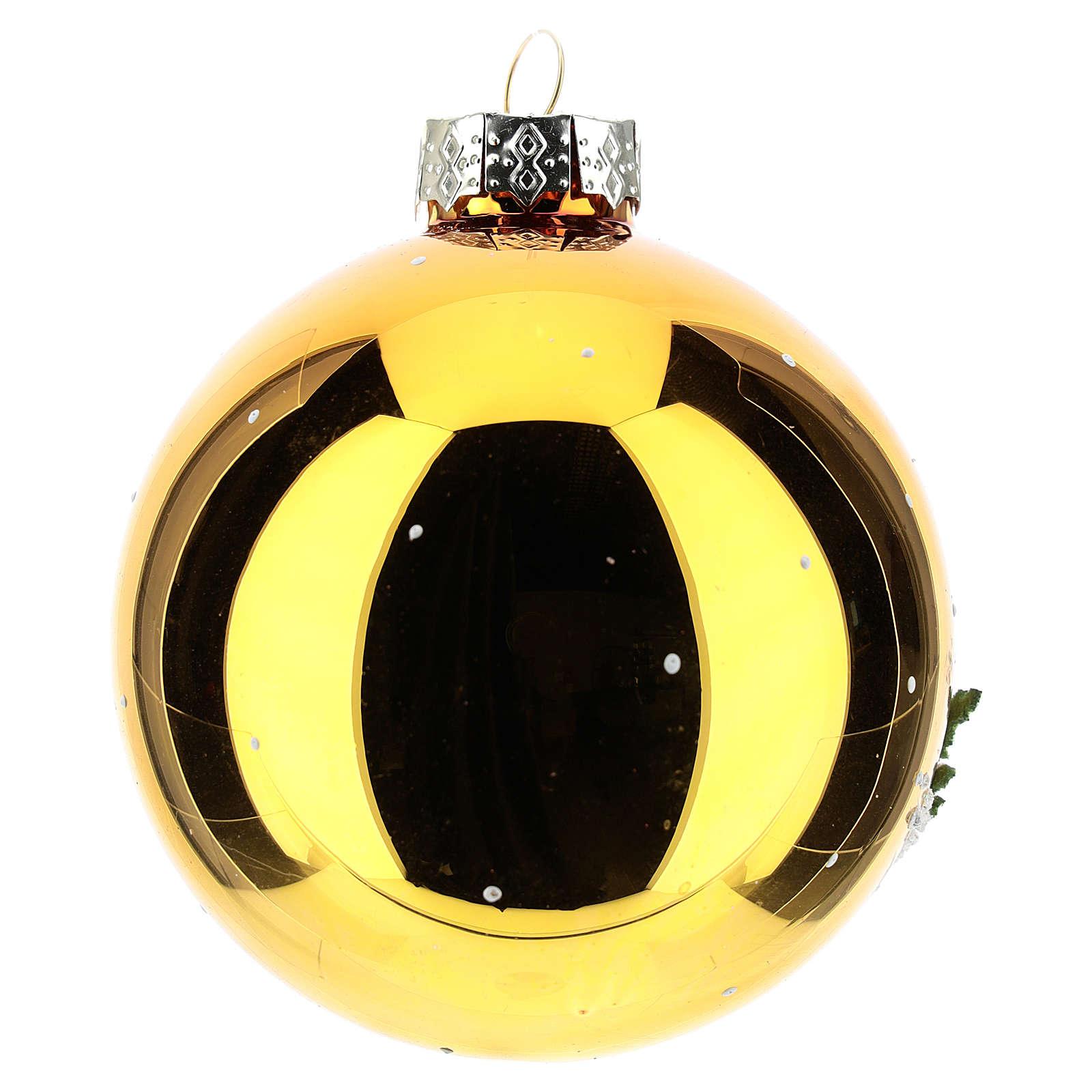 Palla oro con paesaggio invernale 80 mm    4