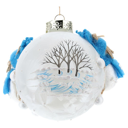 Boule Noël avec bonhommes de neige 80 mm 3