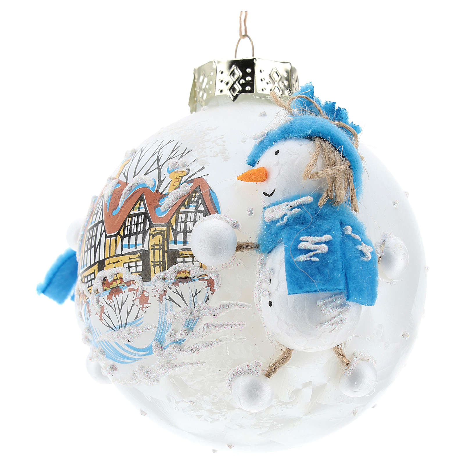 Pallina Natale con pupazzi di neve 80 mm 4