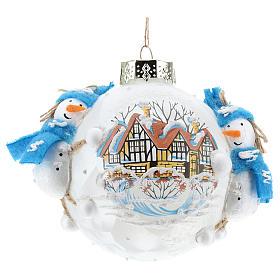 Pallina Natale con pupazzi di neve 80 mm s1