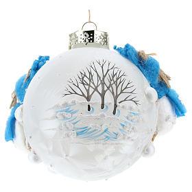 Pallina Natale con pupazzi di neve 80 mm s3