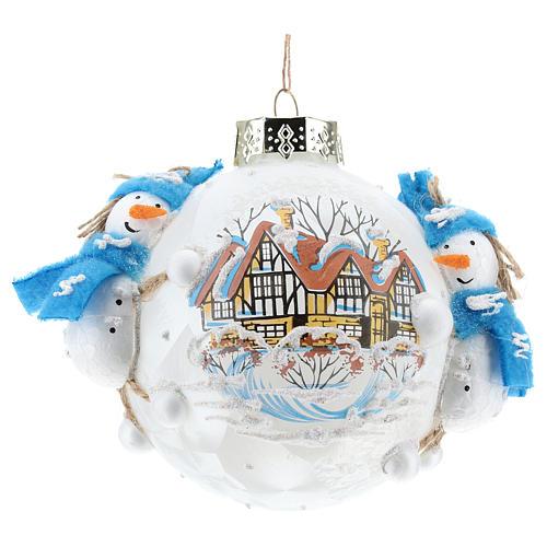 Pallina Natale con pupazzi di neve 80 mm 1