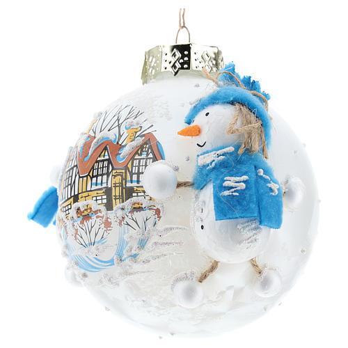 Pallina Natale con pupazzi di neve 80 mm 2