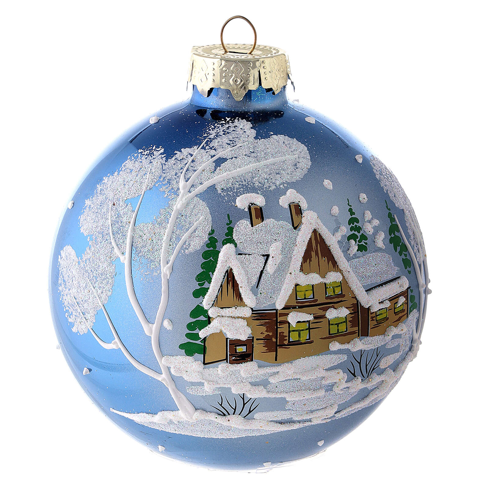 Christmas ball with landscape 8 cm 4