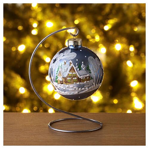 Christmas ball with landscape 8 cm 2