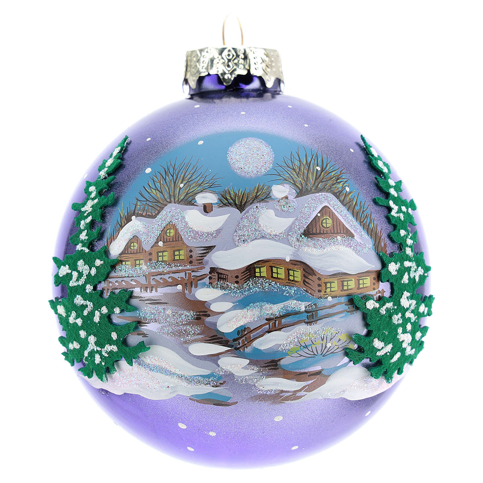 Blown glass christmas ball with landscape 8 cm 4