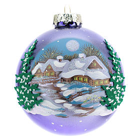 Blown glass christmas ball with landscape 8 cm s1
