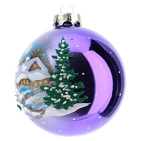 Blown glass christmas ball with landscape 8 cm s2