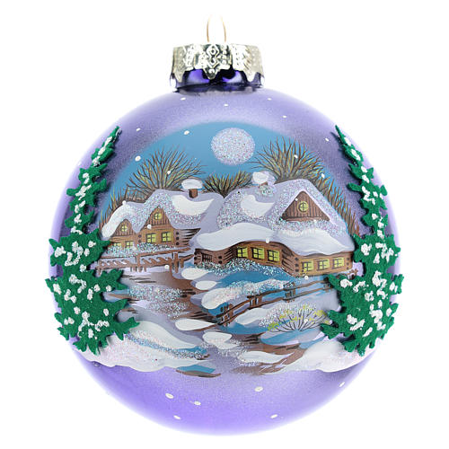 Blown glass christmas ball with landscape 8 cm 1