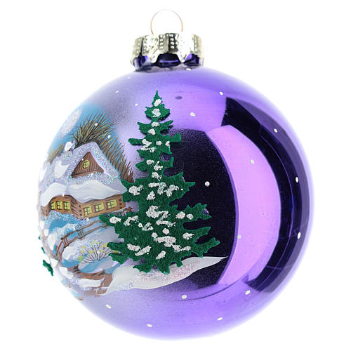 Blown glass christmas ball with landscape 8 cm 2
