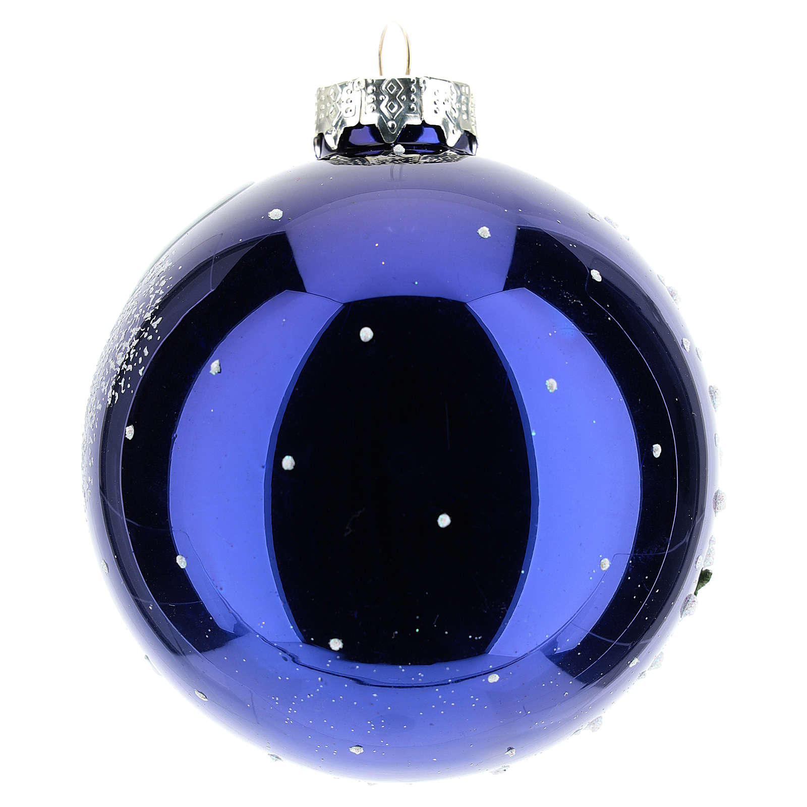 Christmas tree ball 8 cm in blown glass with night landscape with snow 4