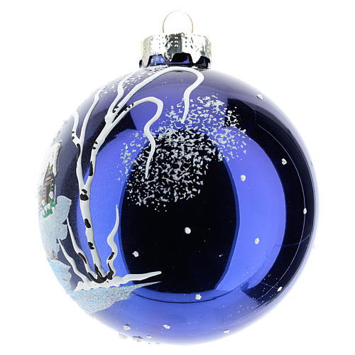 Christmas tree ball 8 cm in blown glass with night landscape with snow 2