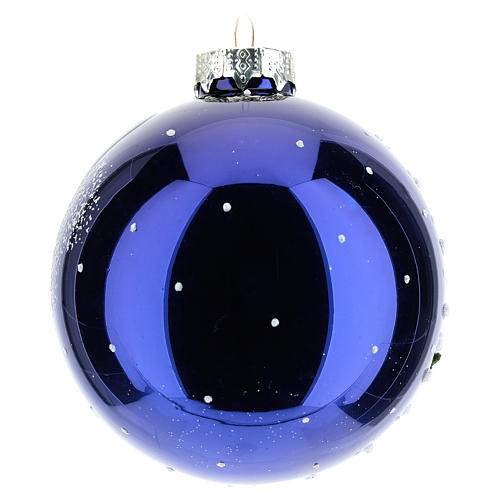 Christmas tree ball 8 cm in blown glass with night landscape with snow 3
