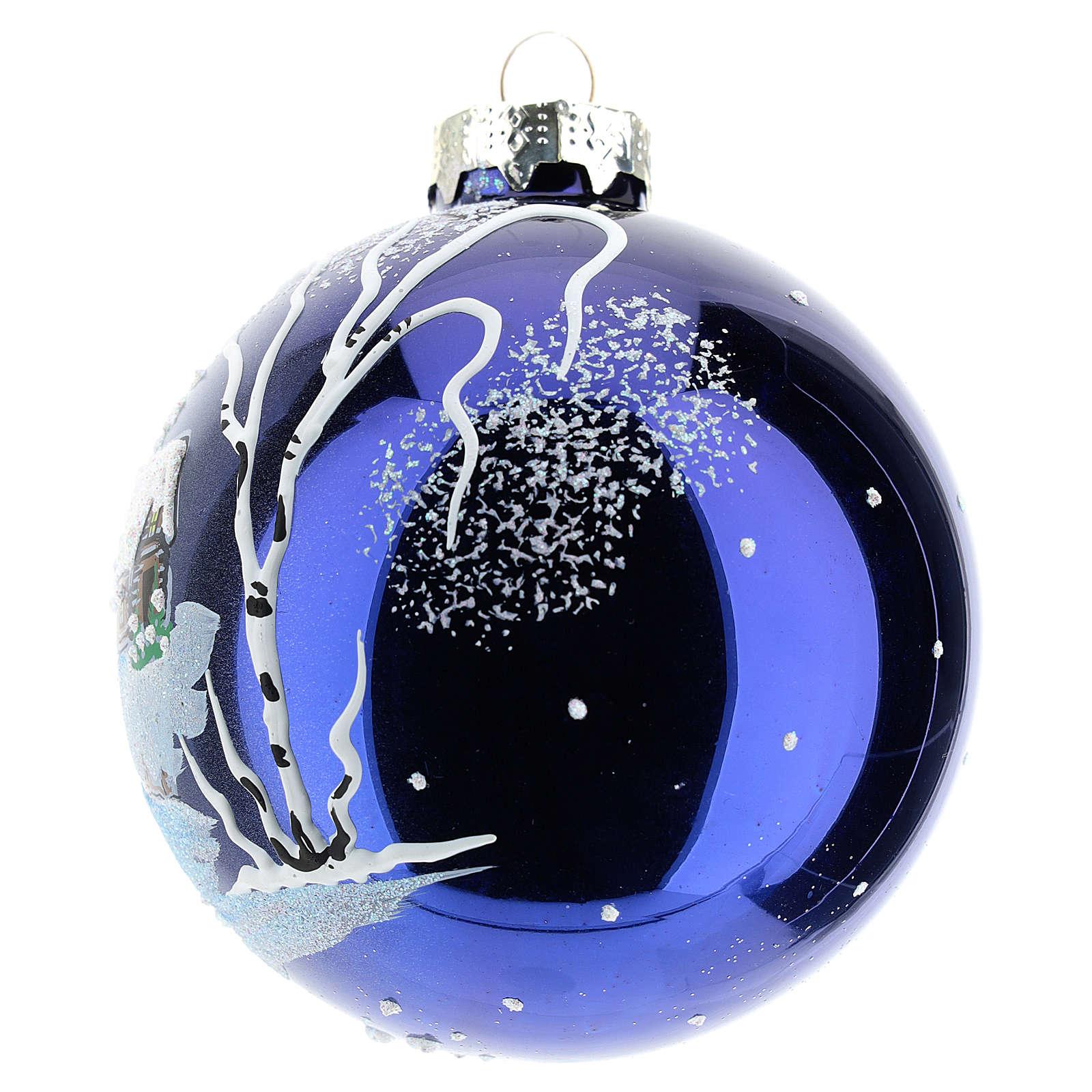 Bola árbol Navidad 80 mm vidrio soplado paisaje nocturno con nieve 4