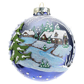 Boule sapin de Noël 80 mm verre soufflé paysage nocturne avec neige s1