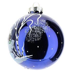 Boule sapin de Noël 80 mm verre soufflé paysage nocturne avec neige s2