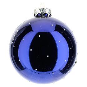 Boule sapin de Noël 80 mm verre soufflé paysage nocturne avec neige s3