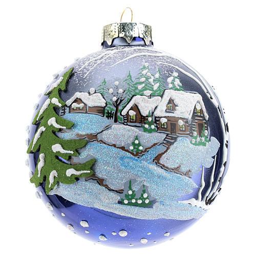 Boule sapin de Noël 80 mm verre soufflé paysage nocturne avec neige 1