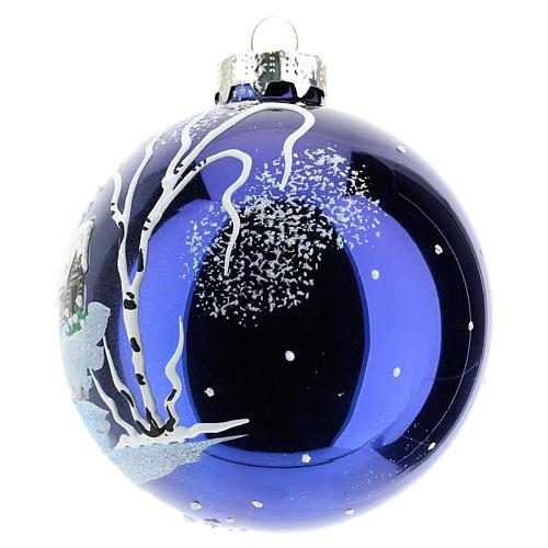 Boule sapin de Noël 80 mm verre soufflé paysage nocturne avec neige 2