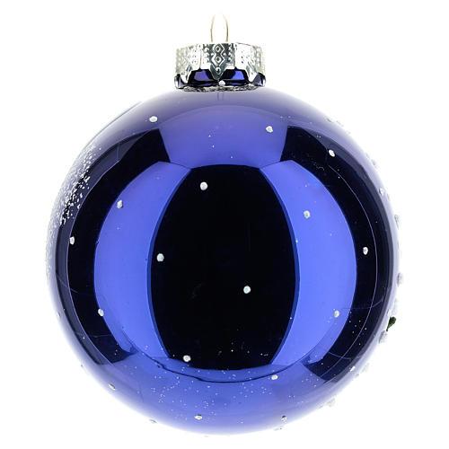Boule sapin de Noël 80 mm verre soufflé paysage nocturne avec neige 3