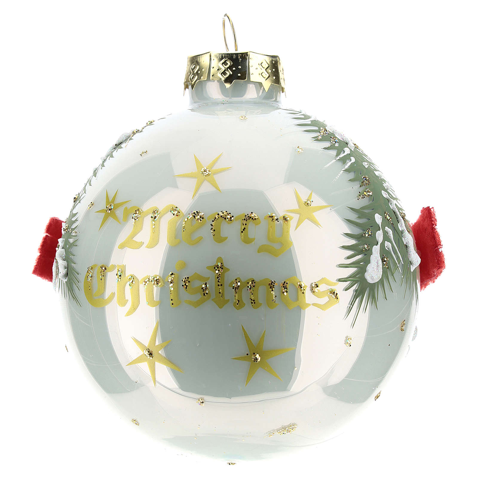 White ball with snowmen 8 cm 4