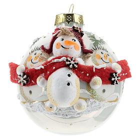 White ball with snowmen 8 cm s1