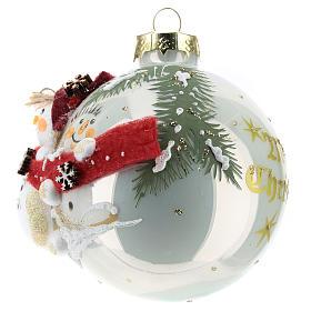 White ball with snowmen 8 cm s2
