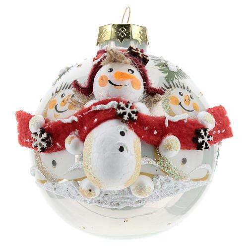White ball with snowmen 8 cm 1