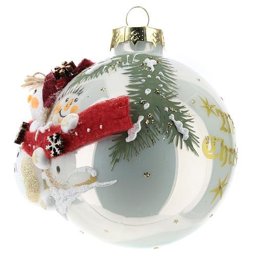 White ball with snowmen 8 cm 2
