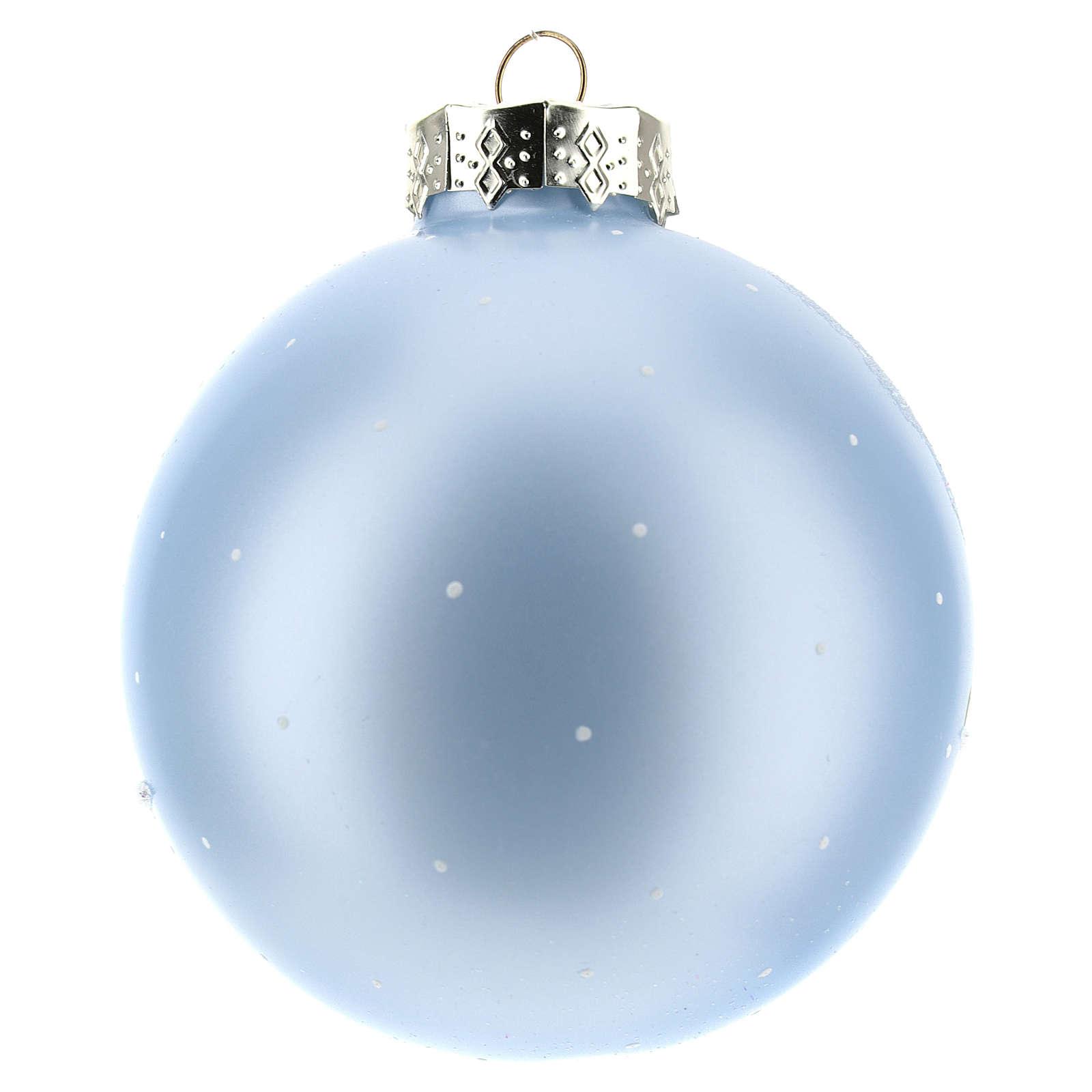 Boule pour Sapin de Noël bleu clair et paysage 80 mm 4