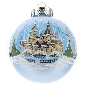 Boule pour Sapin de Noël bleu clair et paysage 80 mm s1
