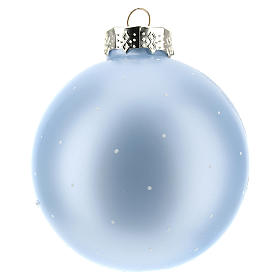 Boule pour Sapin de Noël bleu clair et paysage 80 mm s3