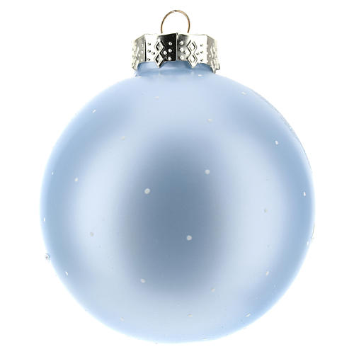 Boule pour Sapin de Noël bleu clair et paysage 80 mm 3
